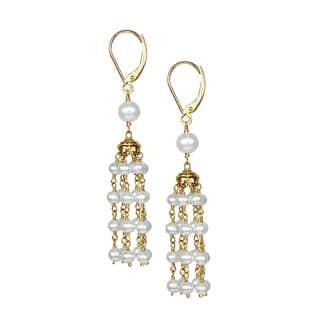 Chandelier pearl earrings for less overstock 14k white pearl chandelier leverback earrings aloadofball Images
