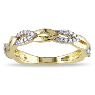 Miadora 10k Yellow Gold 1/5ct TDW Diamond Floral Ring