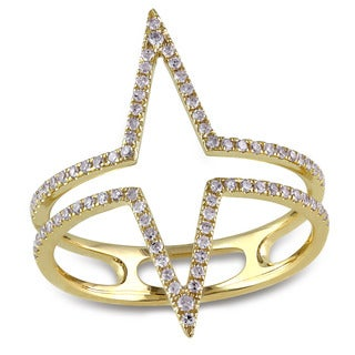 Miadora 14k Yellow Gold 1/4ct TDW Diamond Open Geometric Ring