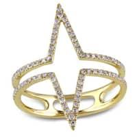 Miadora 14k Yellow Gold 1/4ct TDW Diamond Open Geometric Ring