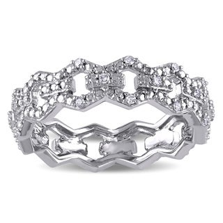 Miadora 14k White Gold Diamond Accent Link Ring