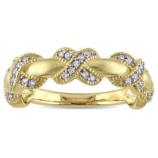 Miadora 14k Yellow Gold 1/5ct TDW Diamond X Ring