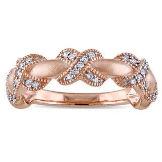 Miadora 14k Rose Gold 1/5ct TDW Diamond X Ring