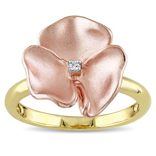 Miadora 14k 2-tone Yellow and Rose Gold Diamond Accent Flower Ring