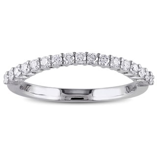 Miadora 14k White Gold 1/3ct TDW Diamond Contour Wedding Band