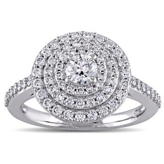 Miadora Signature Collection 14k White Gold 1ct TDW Diamond Triple Halo Engagement Ring (More options available)