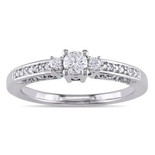 Miadora 14k White Gold 1/4ct TDW Diamond 3-stone Promise Ring