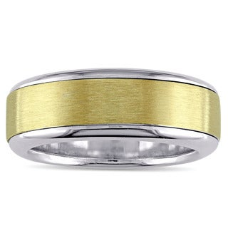 Miadora Signature Collection Men's 18k 2-tone White and Yellow Gold Brushed Finish Wedding Band
