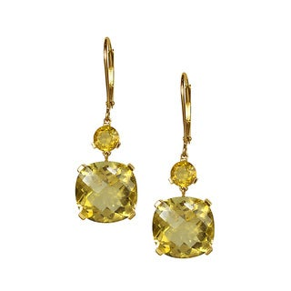 14k Yellow Gold Citrine Cushion Dangle Leverback Earring