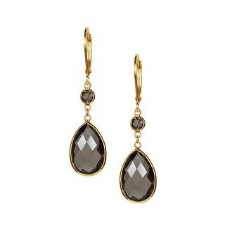 14k Yellow Gold Smokey Quartz Bezel Set Dangling Earrings