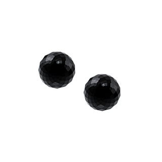 14k Yellow Gold Black Onyx Faceted Ball Earring