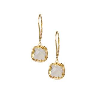 14k Yellow Gold Cushion Shaped Citrine Dangling Earrings