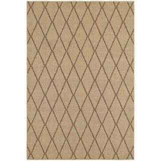 Diamond Lattice Loop Pile Beige/ Sand Indoor/Outdoor Rug (9'10 x 12'10)