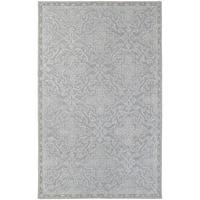 Updated Panel Medallion Loop Pile Grey/ Blue Rug (8' x 10')