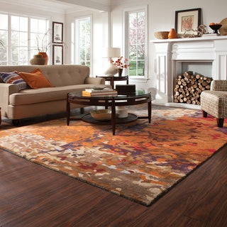 Porch & Den Keno Autumn Inspirations Abstract Multi/ Orange Rug - 8' x 10'