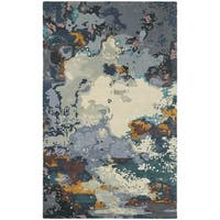 Melding World Abstract Blue/ Grey Rug - 8' x 10'