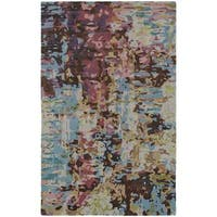 Painter's Paradise Abstract Blue/ Multi Rug (8' x 10') - 8' x 10'