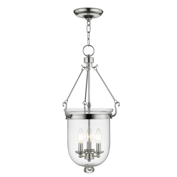Livex Lighting Jefferson 3 Light Polished Nickel Chain Lantern