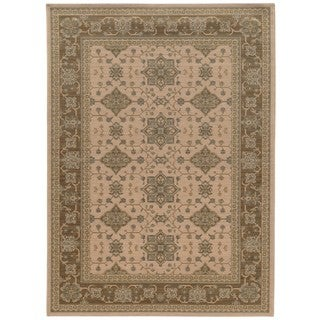 Traditional Border Beige/ Sand Rug (7'10 x 10'10)