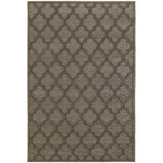 Scalloped Lattice Luxury Brown/ Grey Rug (9'10 x 12'10)