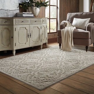Jacquard Luxe Sand/ Beige Rug (7'10 x 10'10)