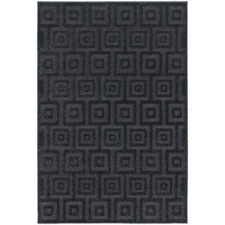 Blockwork Solid Navy/ Blue Rug (9'10 x 12'10)