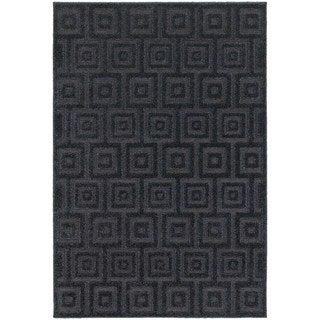 Blockwork Solid Navy/ Blue Rug (7'10 x 10'10)
