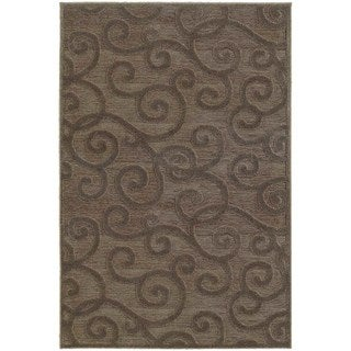 Lush Scrolls Brown/ Grey Rug (9'10 x 12'10)