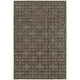 Dimensions Gridwork Brown/ Grey Rug (7'10 x 10'10)