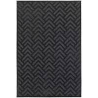 Updated Chevron Textured Navy/ Blue Rug - 7'10 x 11'