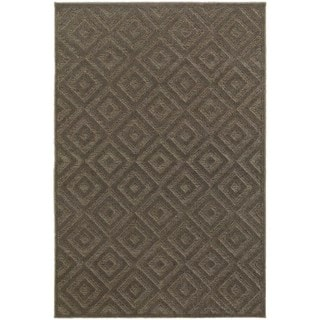 Diamond Plush Brown/ Grey Rug (7'10 x 10'10)