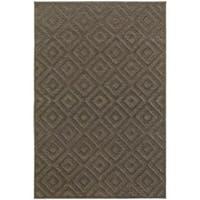 "Diamond Plush Brown/ Grey Rug (7'10 x 10'10) - 7'10"" x 10'10"""