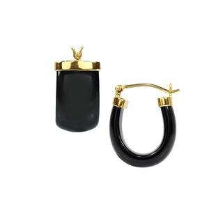 14kt Black Onyx Hoop Earrings
