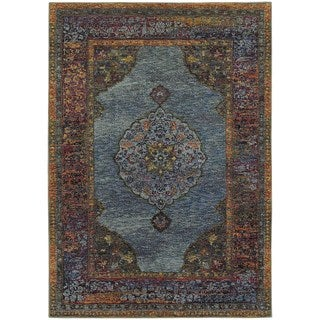 Regal Inspirations Medallion Blue/ Multi Rug (7'10 x 10'10)