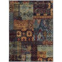 Patchwork Ikat Multi/ Blue Rug (7'10 x 10'10)