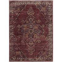 Antiqued Traditional Medallion Red/ Gold Rug - 8' 6 x 11' 7