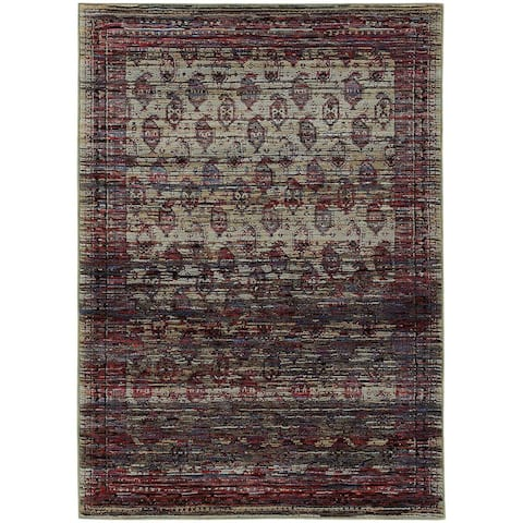 "Distressed Border Panel Multi/ Red Rug - 7'10"" x 10'10"""