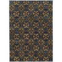 Floral Panel Medallions Blue/ Gold Rug (7'10 x 10'10) - 7'10 x 11'