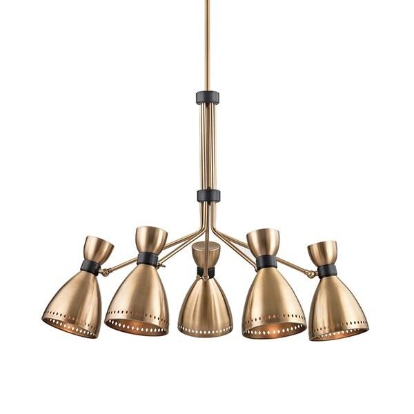 Hudson Valley Solaris 5-Light Aged Brass Chandelier