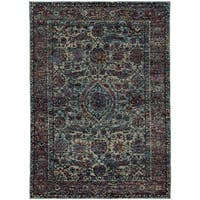Bordered Floral Traditional Blue/ Purple Rug - 8' 6 x 11' 7