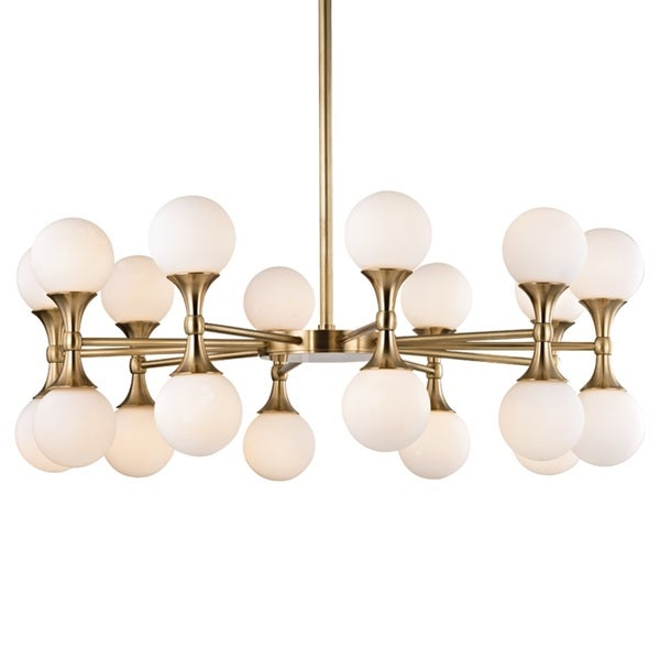 Hudson Valley Astoria 20-Light Aged Brass Chandelier