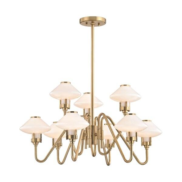 Hudson Valley Knowles 9-Light Aged Brass Chandelier