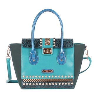 Nicole Lee Noelle Glossy Blue Floral Accent Shoulder Handbag