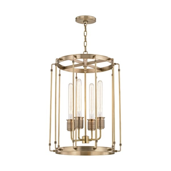 Hudson Valley Hyde Park 4-Light Aged Brass Pendant