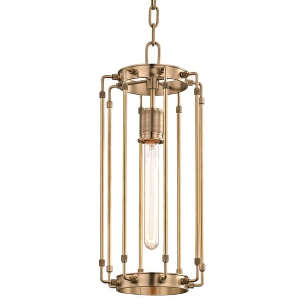 Hudson Valley Hyde Park 1-Light Aged Brass Pendant