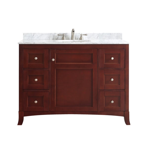 Arezzo Antique Cherry 48 Inch Single Vanity With Carrara White Marble Top Without Mirror Free
