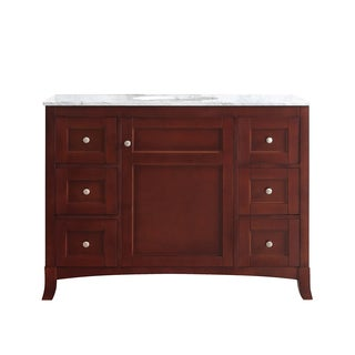 Arezzo Antique Cherry 48-inch Single Vanity with Carrara White Marble Top without Mirror