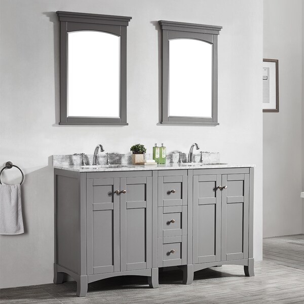 Arezzo Grey 60 Inch Double Vanity With Carrara White