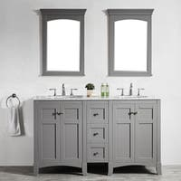 Arezzo Grey 60-inch Double Vanity With Carrara White Marble Top and Mirror