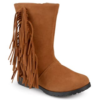 Journee Kids 'Luzie' Round Toe Fringed Boots|https://ak1.ostkcdn.com/images/products/12368937/P19194407.jpg?impolicy=medium